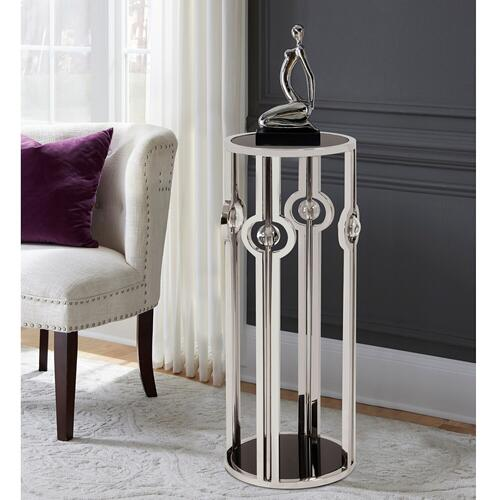 Howard Elliott - Stainless Steel Pedestal with Black Tempered Glass and Acrylic Ball Details, Large