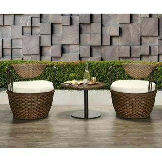 ACME Eskil 3Pc Patio Set - 45045 - Fabric & 2-Tone Brown Wicker
