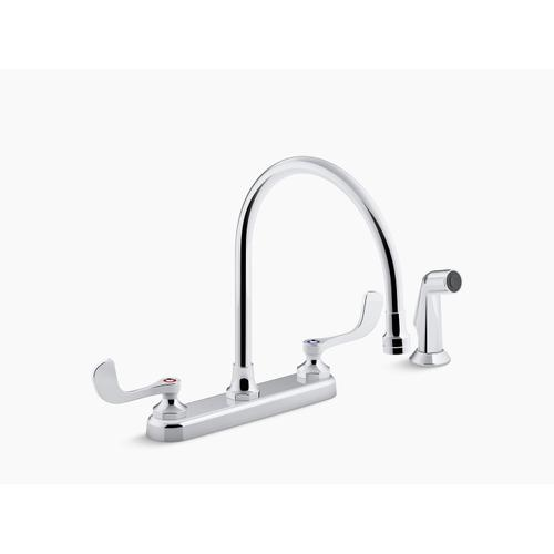 "Polished Chrome 1.8 Gpm Kitchen Sink Faucet With 9-5/16"" Gooseneck Spout, Matching Finish Sidespray, Aerated Flow and Wristblade Handles"