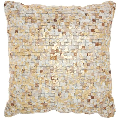 """Natural Leather Hide S2186 White/gold 20"""" X 20"""" Throw Pillow"""