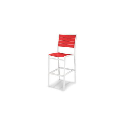 Polywood Furnishings - Eurou2122 Bar Side Chair in Satin White / Sunset Red