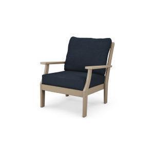 Polywood Furnishings - Braxton Deep Seating Chair in Vintage Sahara / Marine Indigo