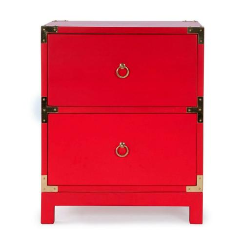 Butler Specialty Company - This striking campaign-inspired Chairside Chest is sure to be the focal point of any living room or bedroom. Crafted from mango wood solids and wood products, it boasts a bold red finish and two storage drawers with brass ring pulls and matching corner hardware.