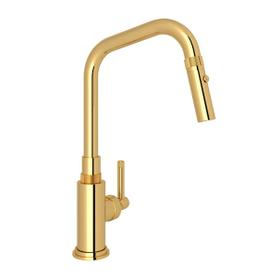 Campo Side Lever Pulldown Faucet - Unlacquered Brass with Industrial Metal Lever Handle