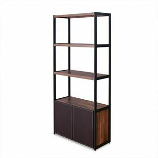 ACME Sara Bookcase - 92442 - Espresso PU - Walnut & Sandy Black