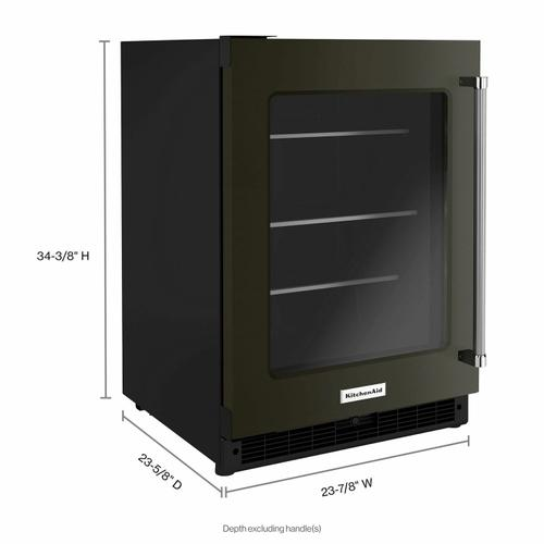 """KitchenAid - 24"""" Undercounter Refrigerator with Glass Door and Shelves with Metallic Accents - Black Stainless Steel with PrintShield™ Finish"""