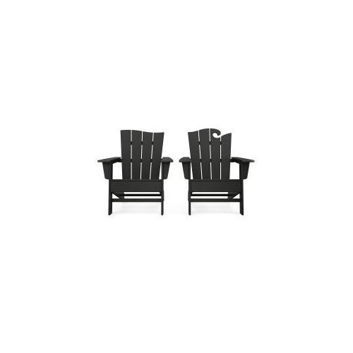 Polywood Furnishings - Wave 2-Piece Adirondack Set with The Wave Chair Left in Black