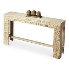 "The transparent Washed finish keeps the spotlight where it should be with this piece "" on the extraordinary carved front. Crafted and hand carved from exotic mango wood solids and recycled wood, this console is destined to be the brightest spot in the room for sure."