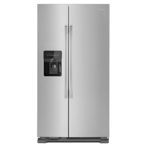 36-inch Side-by-Side Refrigerator with Dual Pad External Ice and Water Dispenser Black-on-Stainless