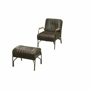 ACME Sarahi 2Pc Pack Chair & Ottoman - 59597 - Distress Espresso Top Grain Leather