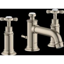 Brushed Nickel Widespread Faucet 30 with Cross Handles and Pop-Up Drain, 1.2 GPM