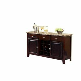 ACME Britney Server - 17057 - White Marble & Walnut