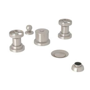 Campo Five Hole Bidet Faucet - Satin Nickel with Industrial Metal Wheel Handle