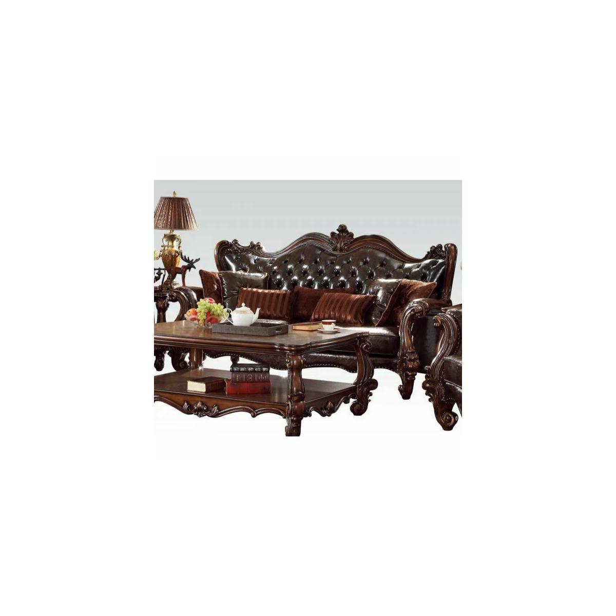 ACME Versailles Sofa w/7 Pillows - 52120A - 2-Tone Dark Brown PU & Cherry Oak