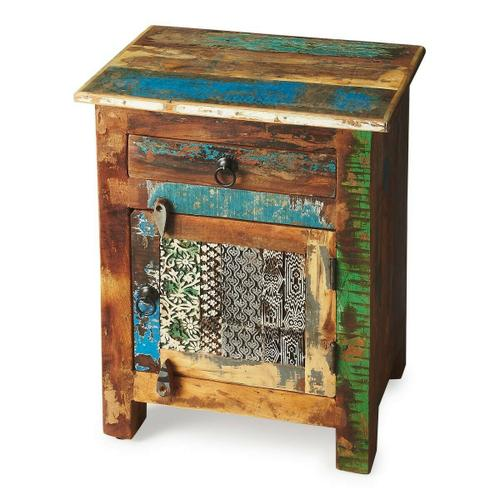 Butler Specialty Company - An irresistible combinatinon of rustic charm, vibrant color and intriguing hand-painted design on the door front ensure this piece stands out as original art with benefits -- substantial storage space inside the drawer and behind the door. Crafted from recycled wood solids with wood and iron finished hardware.