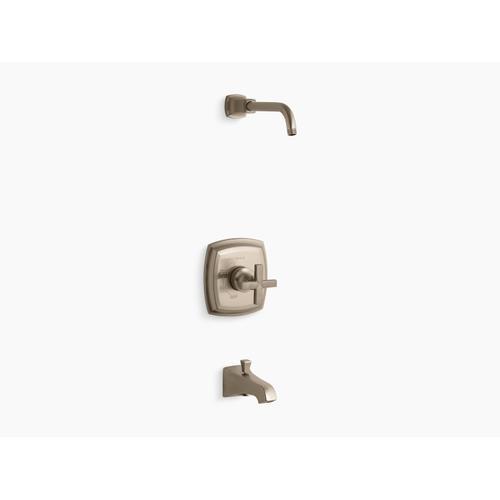 Kohler - Vibrant Brushed Bronze Rite-temp Bath and Shower Valve Trim With Cross Handle and Npt Spout, Less Showerhead