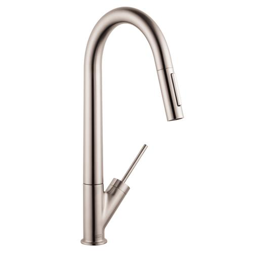 Stainless Steel Finish Single lever kitchen mixer 270 with pull-out spray