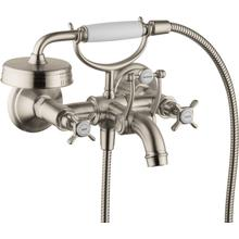 Brushed Nickel 2-Handle Wall-Mounted Tub Filler with Cross Handles and 1.8 GPM Handshower