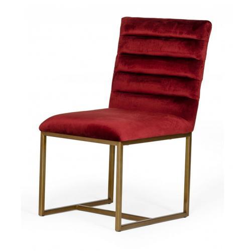 VIG Furniture - Modrest Barker - Modern Red & Brush Gold Dining Chair (set of 2)