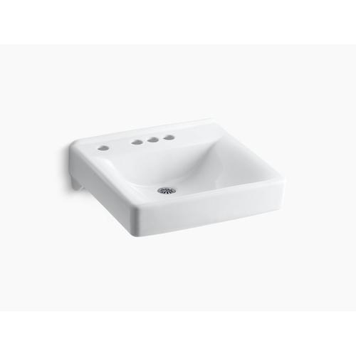 """White 20"""" X 18"""" Wall-mount/concealed Arm Carrier Bathroom Sink With 4"""" Centerset Faucet Holes and Left-hand Soap Dispenser Hole"""