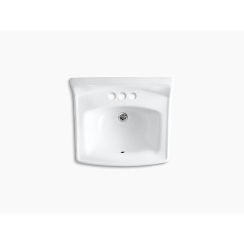 """White 20-3/4"""" X 18-1/4"""" Wall-mount/concealed Arm Carrier Bathroom Sink With 4"""" Centerset Faucet Holes"""