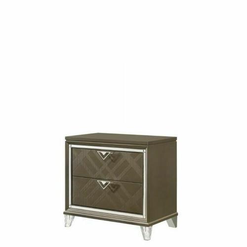 ACME Skylar Nightstand - 25323 - Glam, Contemporary - Wood (Rbw), Paper Veneer (PU), MDF, PB, Acrylic Leg - Dark Champagne