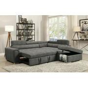 ACME Thelma Sectional Sofa w/Sleeper & Ottoman - 50275 - Gray Polished Microfiber Product Image
