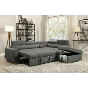 ACME Thelma Sectional Sofa w/Sleeper & Ottoman - 50275 - Gray Polished Microfiber