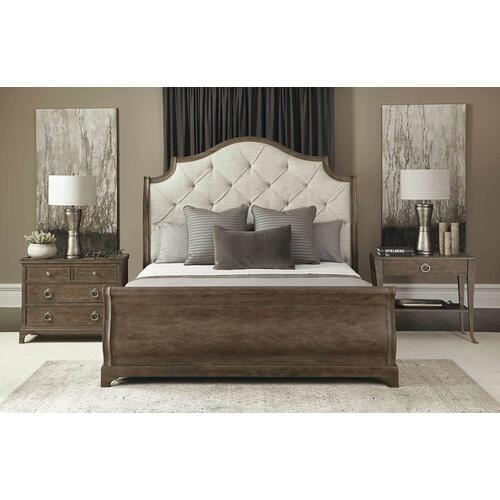 Queen Rustic Patina Upholstered Sleigh Bed in Peppercorn (387)