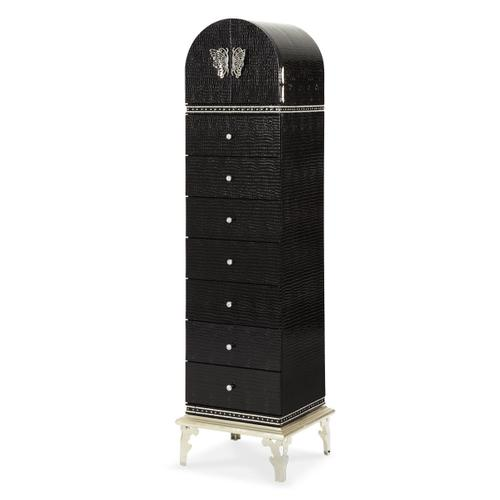 Upholstered Swivel Chiffonier Lingerie Chest Living Room Storage Cabinet