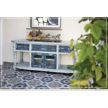 "70"" TV Stand in Sky Blue Finish, w/3 Dark blue drawers & 2 Dark blue doors"
