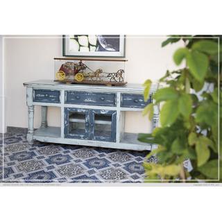 "70"" TV Stand in Sky Blue Finish, w/3 Dark blue drawers & 2 Dark blue doors"