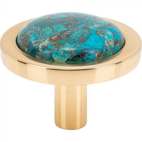 Vesta Fine Hardware - FireSky Mohave Blue Knob 1 9/16 Inch Polished Brass Base Polished Brass