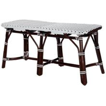 This distinctive coastal-inspired bench will provide years of beauty and function in an entryway, kitchen, living room, bedroom, or sunroom. It features a water resistant polyethylene plastic seat in a stylish white and black basket weave pattern. Finished in a rich chocolate brown stain, its solid rattan base provides exceptional strength and durability. Consider pairing this bench with matching counter stool style number 5399354 to expand the coastal theme of this bench and to further transform you space.