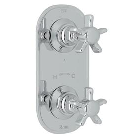 San Giovanni Trim for 1/2 Inch Thermostatic and Diverter Control Rough Valve - Polished Chrome with Five Spoke Cross Handle