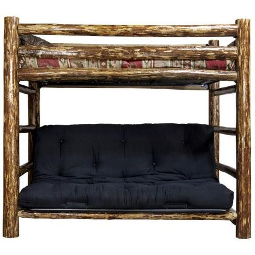 Glacier Country Collection Twin Bunk Bed Over Full Futon