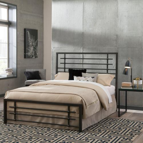 Colton Metal SNAP Bed with Folding Frame Bedding Support System and Industrial-Styled Metal Piping, Burnished Black Finish, King