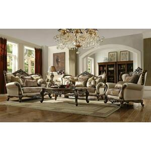 ACME Latisha Sofa w/6 Pillows - 52115 - Tan - Pattern Fabric & Antique Oak