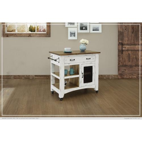 See Details - 1 Drawer, 1 Mesh Door Kitchen Island - White finish