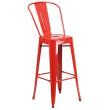 See Details - 30'' High Red Metal Indoor-Outdoor Barstool with Back
