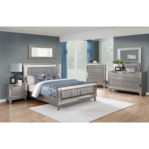 Leighton Contemporary Metallic Queen Bed