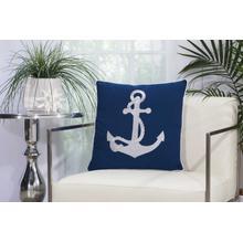 """Outdoor Pillows L0391 Navy/white 18"""" X 18"""" Throw Pillow"""