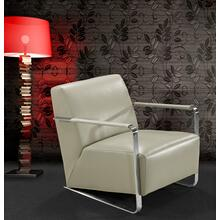 View Product - Divani Casa Bison - Modern Grey Leather Lounge Chair