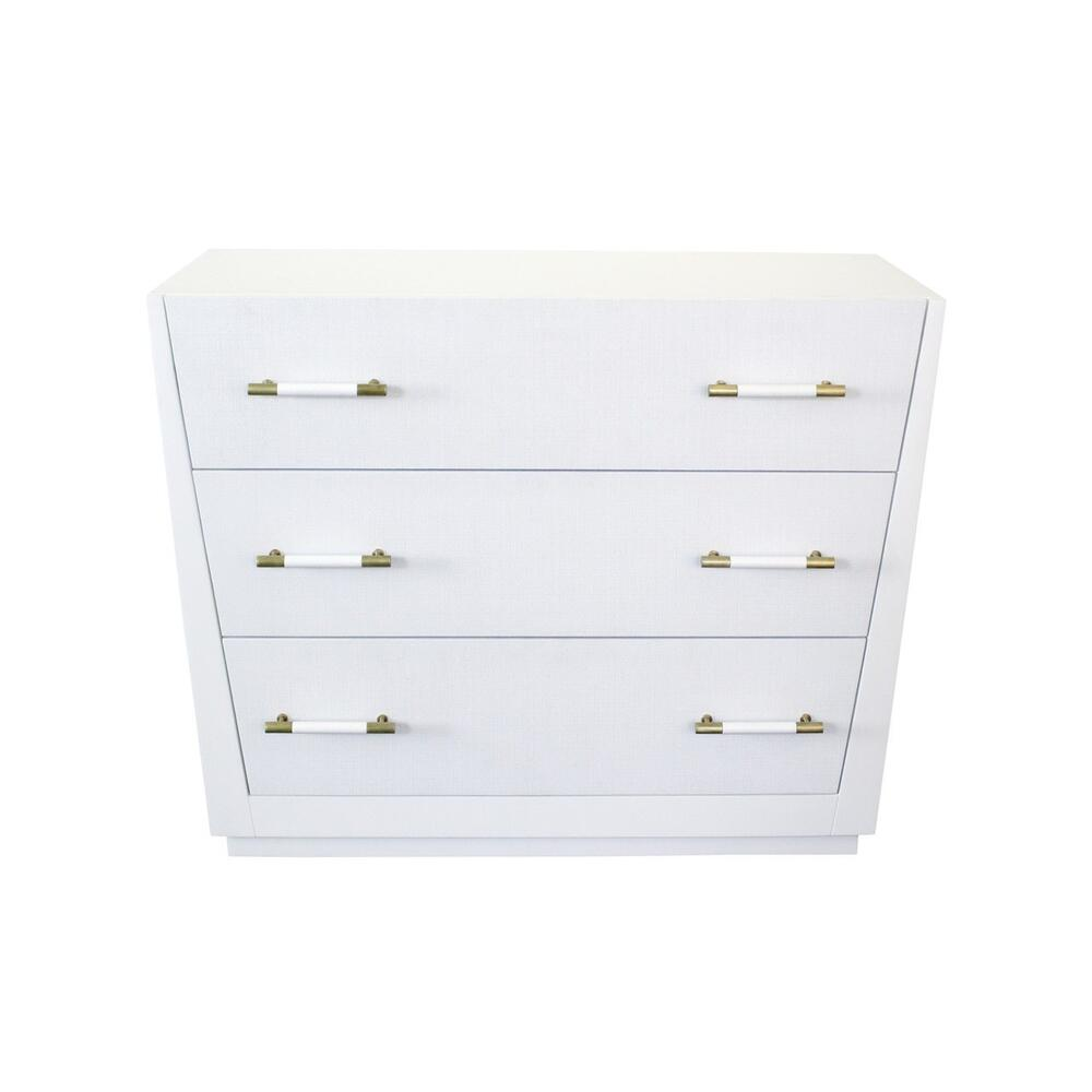 "Want To Add A Pop of Modern Glamour To Your Space"" Want Storage Too"" the Tapering Silhouette of Our Liam Chest In Matte White Lacquer Is Exactly What You've Been Searching For. Three Lacquered White Linen Drawers Offer A Subtle, Yet Glamorous Texture, and Antique Brass Hardware Finishes the Look. Très Chic!"