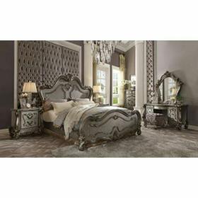 ACME Versailles Eastern King Bed - 26857EK - Antique Platinum