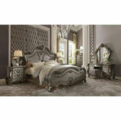 ACME Versailles Eastern King Bed - 26857EK - Antique Platinum
