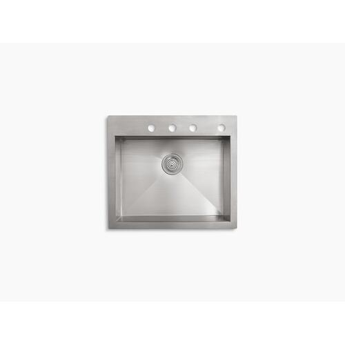"25"" X 22"" X 9-5/16"" Top-mount/undermount Single-bowl Kitchen Sink With 4 Faucet Holes"
