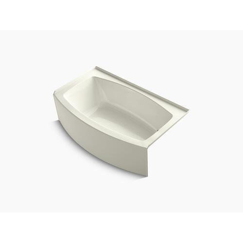 "Biscuit 60"" X 30-36"" Curved Alcove Bath With Integral Apron, Bask Heated Surface and Right-hand Drain"
