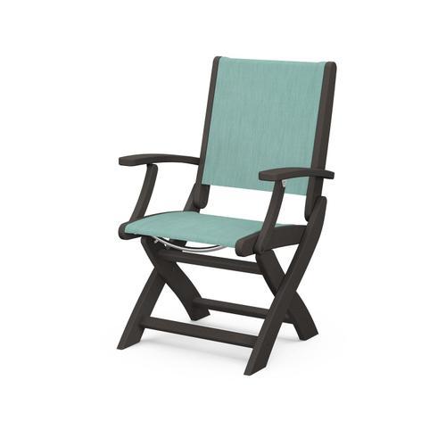 Coastal Folding Chair in Vintage Coffee / Aquamarine Sling