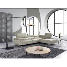 View Product - Estro Salotti Wish - Modern Grey Leather Right Facing Sectional Sofa